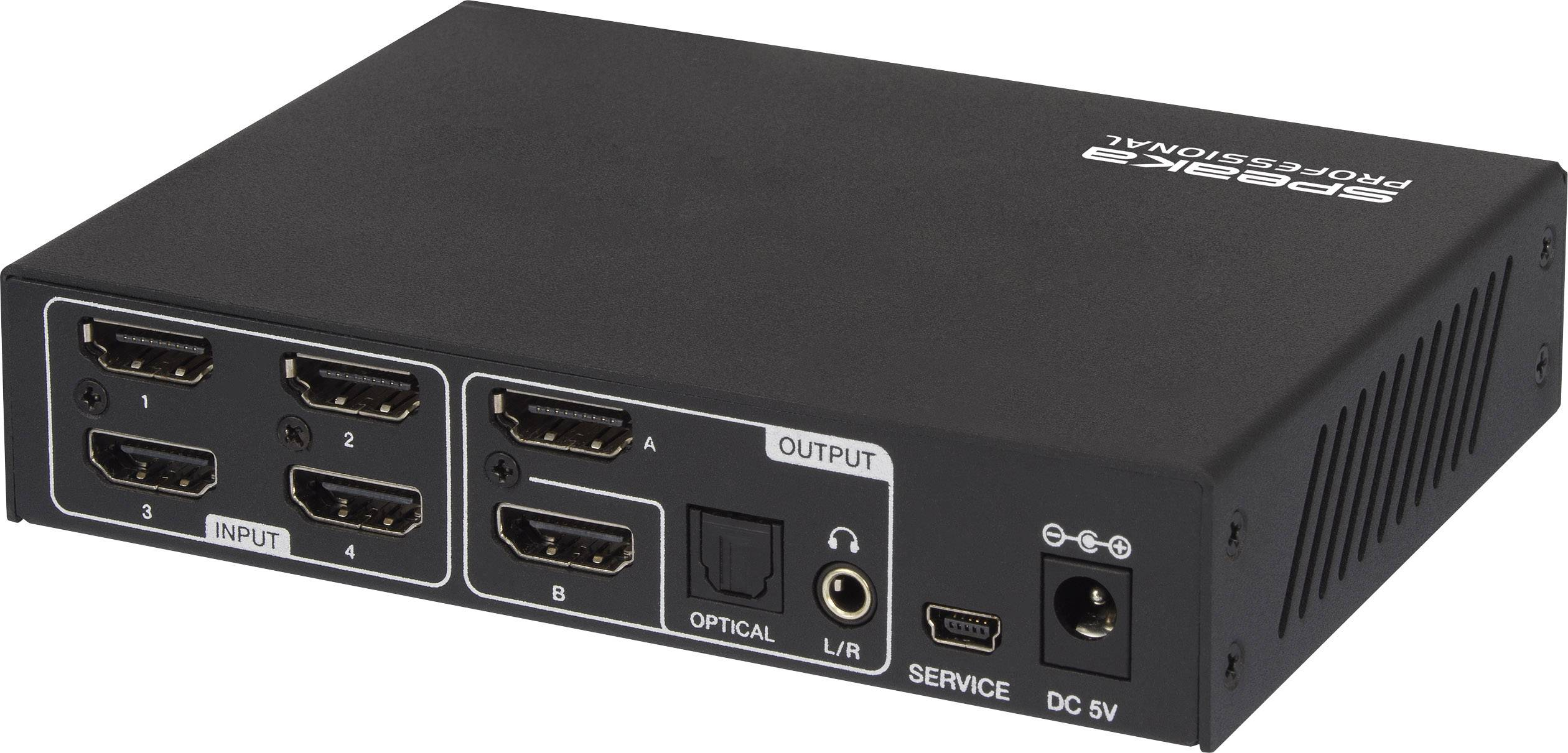 HDMI matrix switch SpeaKa Professional SP-HDMI-M4x2UHD SP-6464784, s 4 portmi