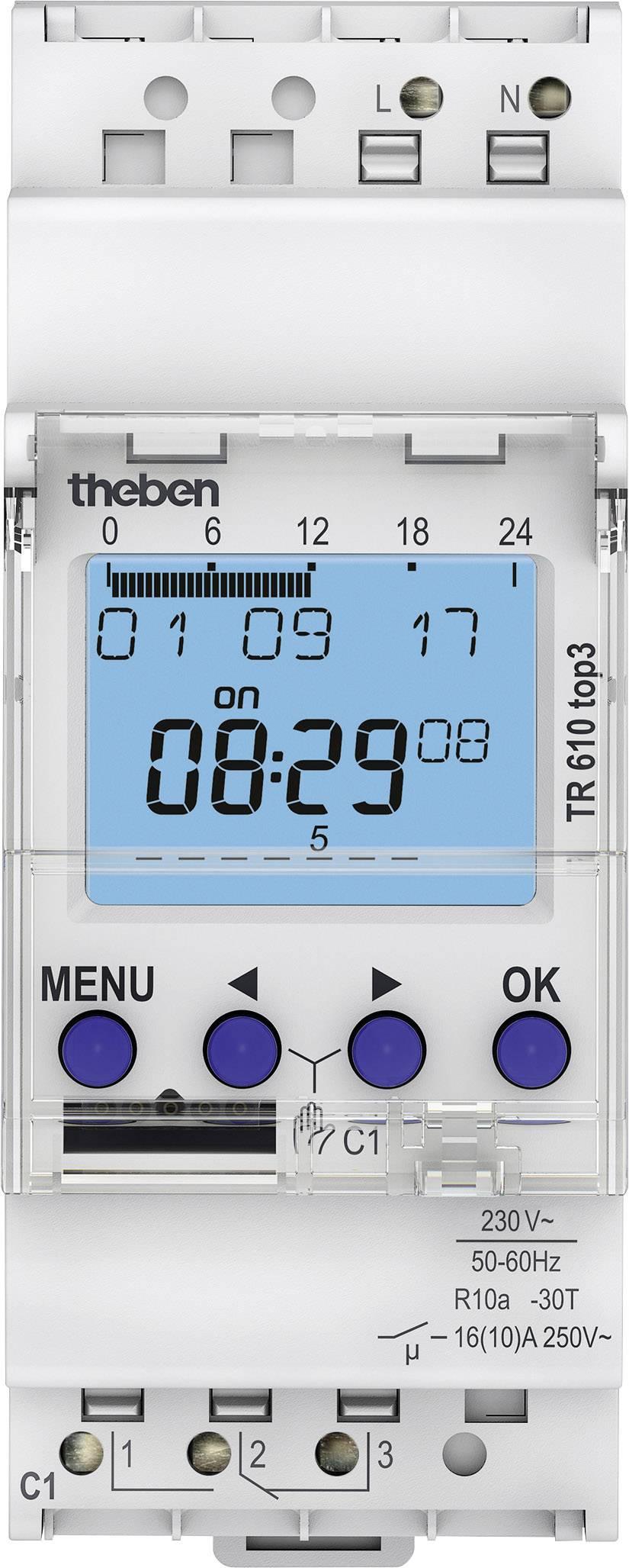 Spínací hodiny na DIN lištu Theben TR610 top3, 6100130, 1 ks