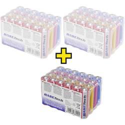 Tužková baterie AA alkalicko-manganová Basetech 2650 mAh, 1.5 V, 72 ks