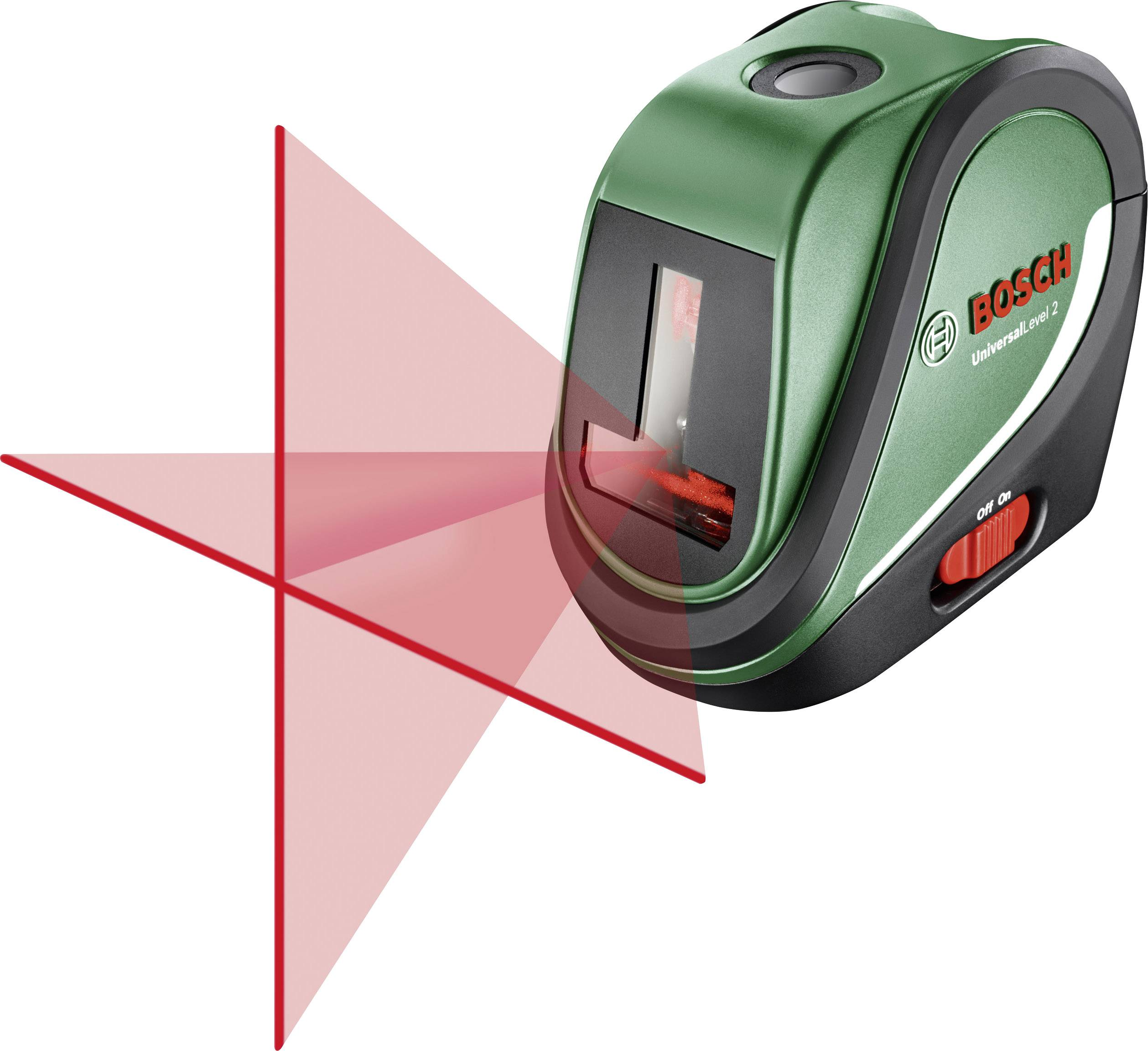 Křížový laser samonivelační Bosch Home and Garden UniversalLevel 2 Basic, dosah (max.): 10 m, Kalibrováno dle: podnikový standard (bez certifikátu) (own)