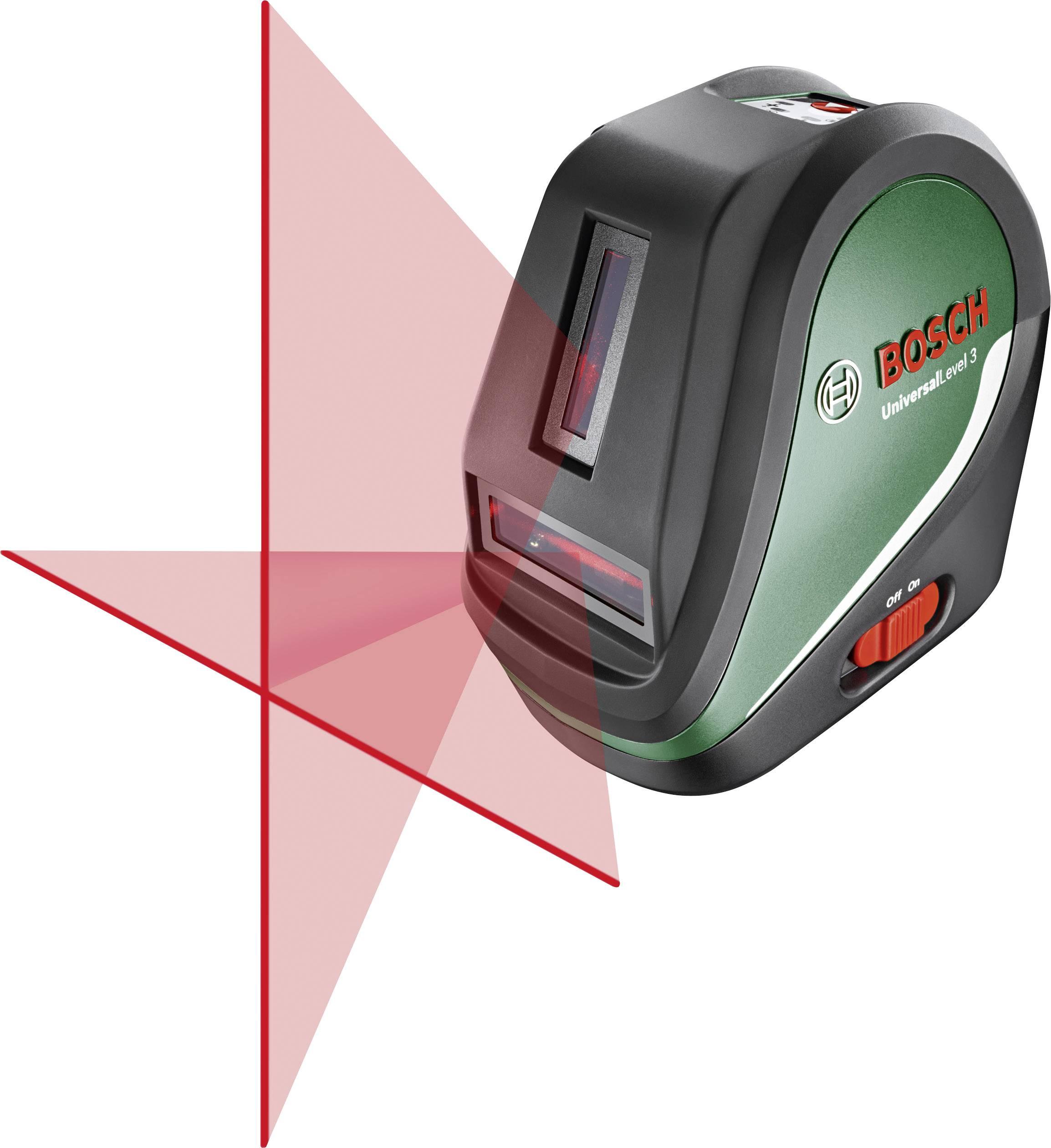 Křížový laser samonivelační Bosch Home and Garden UniversalLevel 3 Basic, dosah (max.): 10 m, Kalibrováno dle: podnikový standard (bez certifikátu) (own)