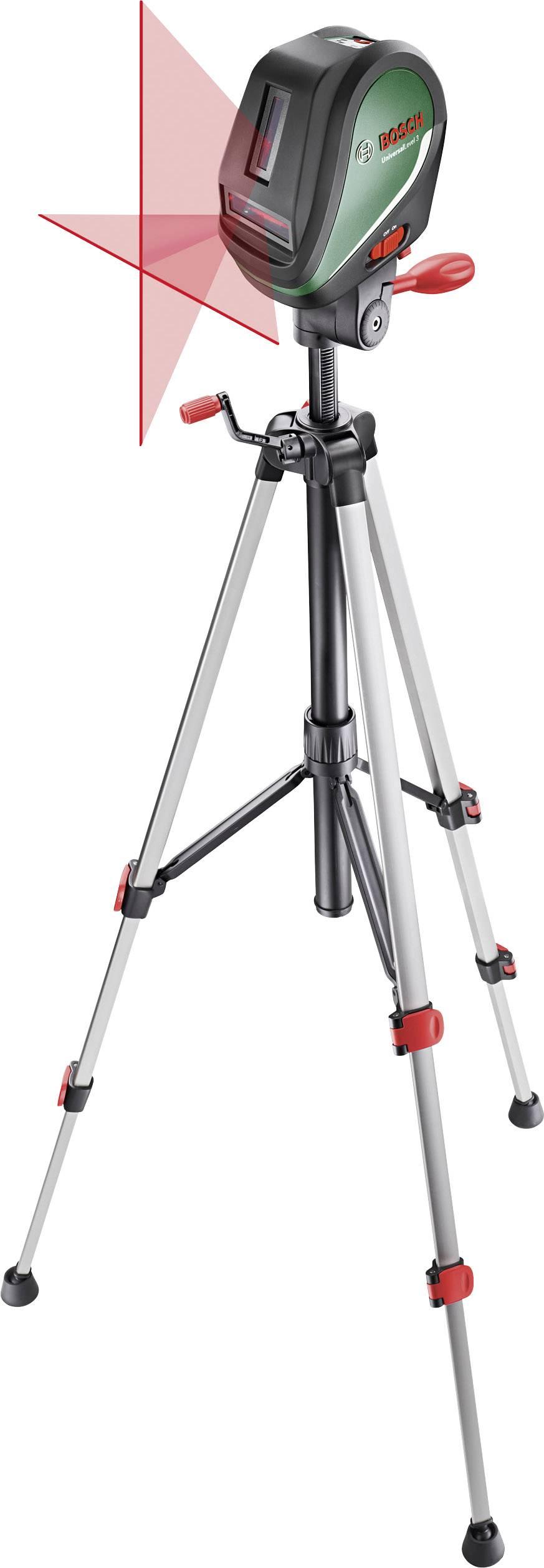 Křížový laser samonivelační, vč. stativu Bosch Home and Garden UniversalLevel 3 Set, dosah (max.): 10 m, Kalibrováno dle: bez certifikátu