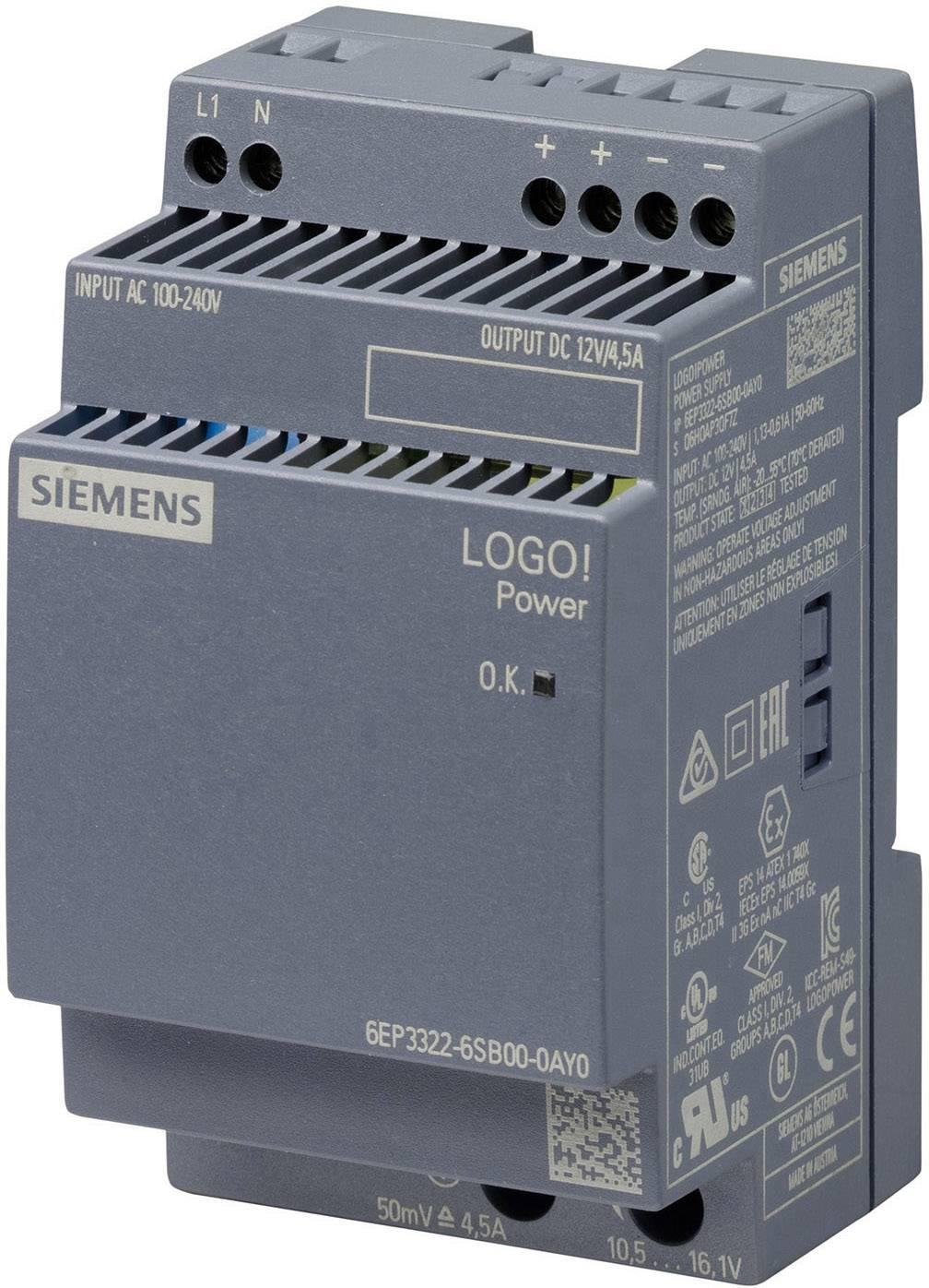 Sieťový zdroj na montážnu lištu (DIN lištu) Siemens 6EP3322-6SB00-0AY0, 1 x, 12 V/DC, 4.5 A, 54 W