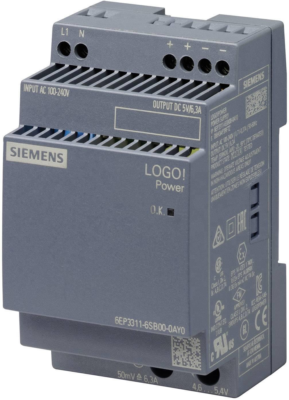 Síťový zdroj na DIN lištu Siemens 6EP3311-6SB00-0AY0, 1 x, 5 V/DC, 6.3 A, 31.5 W