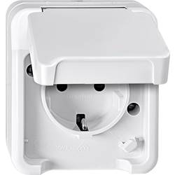 Zásuvka s ochranným kontaktem se sklopným víkem Merten AQUASTAR 4074943 polární bílá