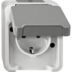 Zásuvka s ochranným kontaktem se sklopným víkem Merten AQUASTAR 4074944 světle zelená