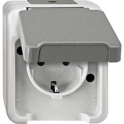 Zásuvka s ochranným kontaktem se sklopným víkem Merten AQUASTAR 4074945 světle zelená