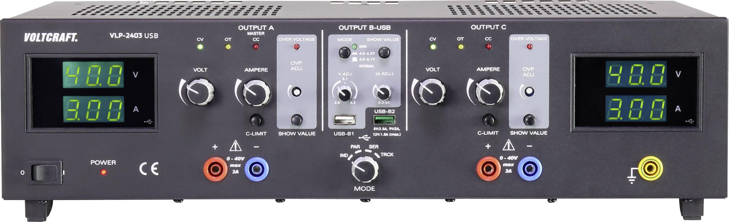 Laboratorní zdroj s nastavitelným napětím VOLTCRAFT VLP-2403 USB, 0 - 40 V, 0.01 - 3 A, 273 W
