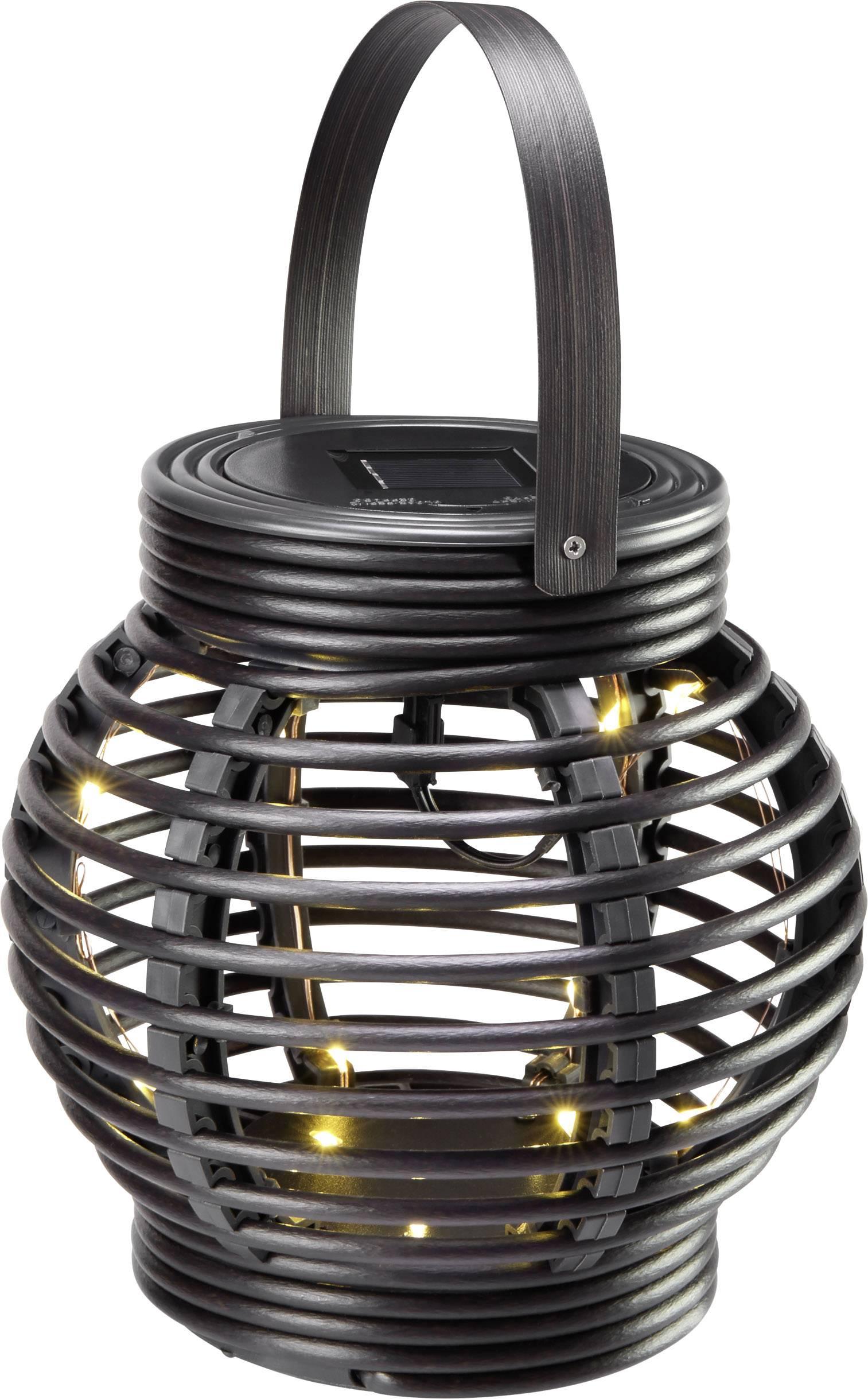 LED solární zahradní svítidlo Polarlite Rattan 160 PL-8220870, IP44, černá, teplá bílá