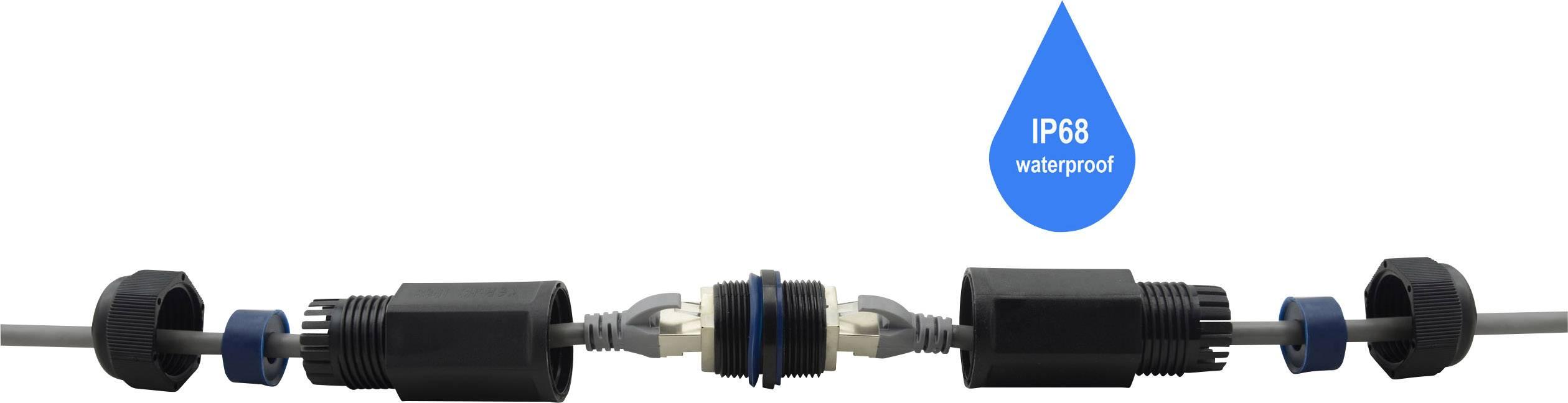 RJ45 síťový adaptér Renkforce RF-3312690 CAT 6, [1x RJ45 zásvuka - 1x RJ45 zásvuka], černá
