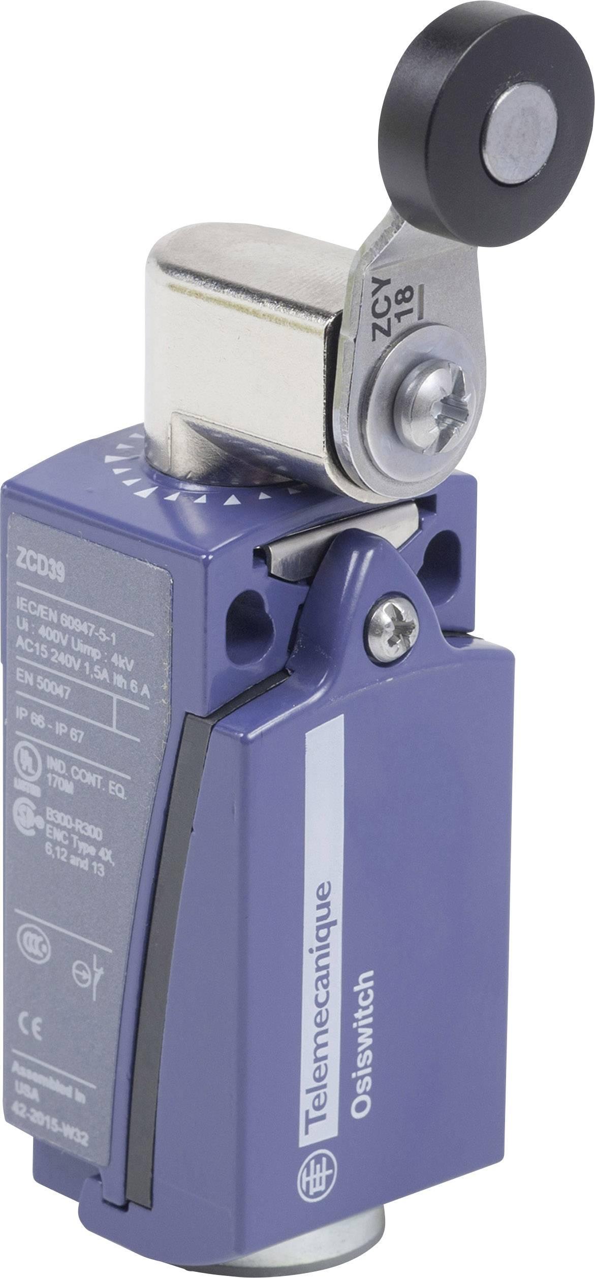 Koncový spínač Schneider Electric XCKD2118P16, páka s rolnou, bez aretace, IP67, 1 ks