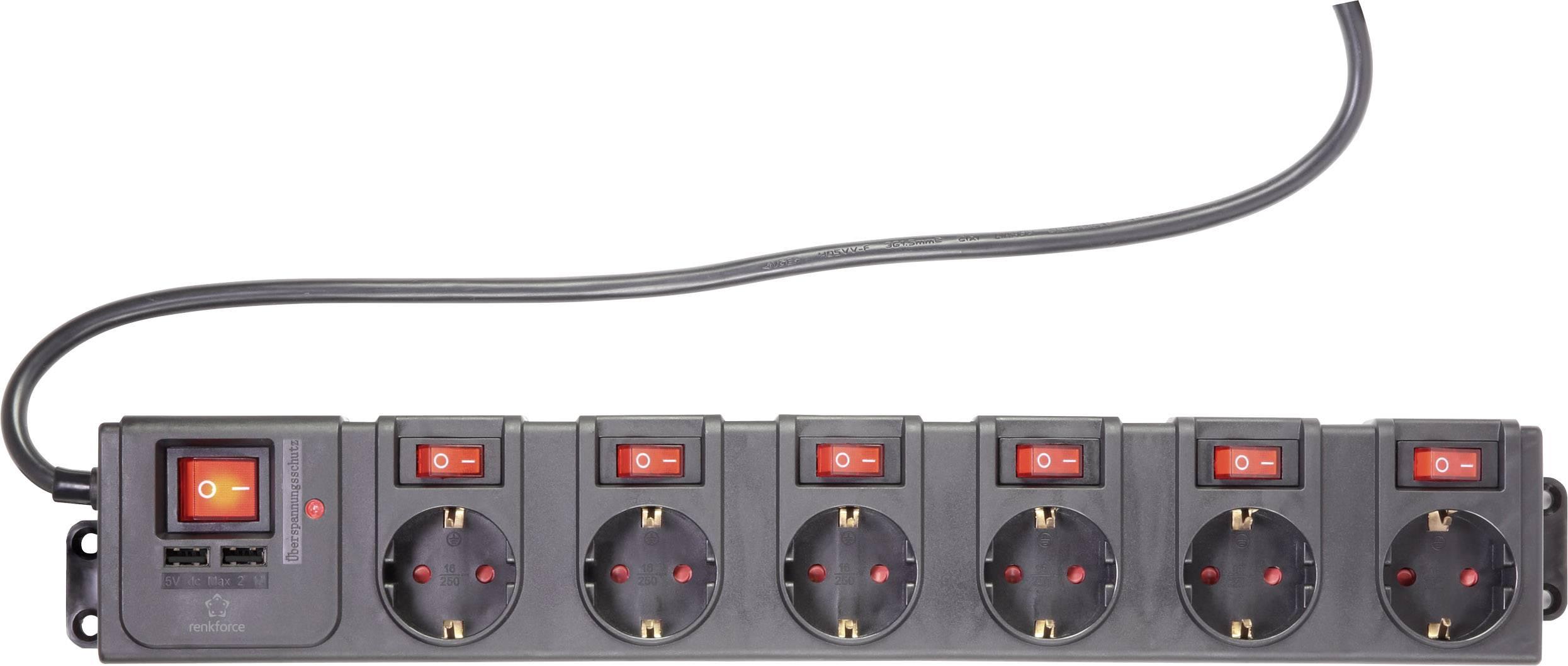 Zásuvková lišta s přepěťovou ochranou Renkforce 615C-CMB-SUSB RF-3313344, počet zásuvek 6, IP20, 1.50 m, černá