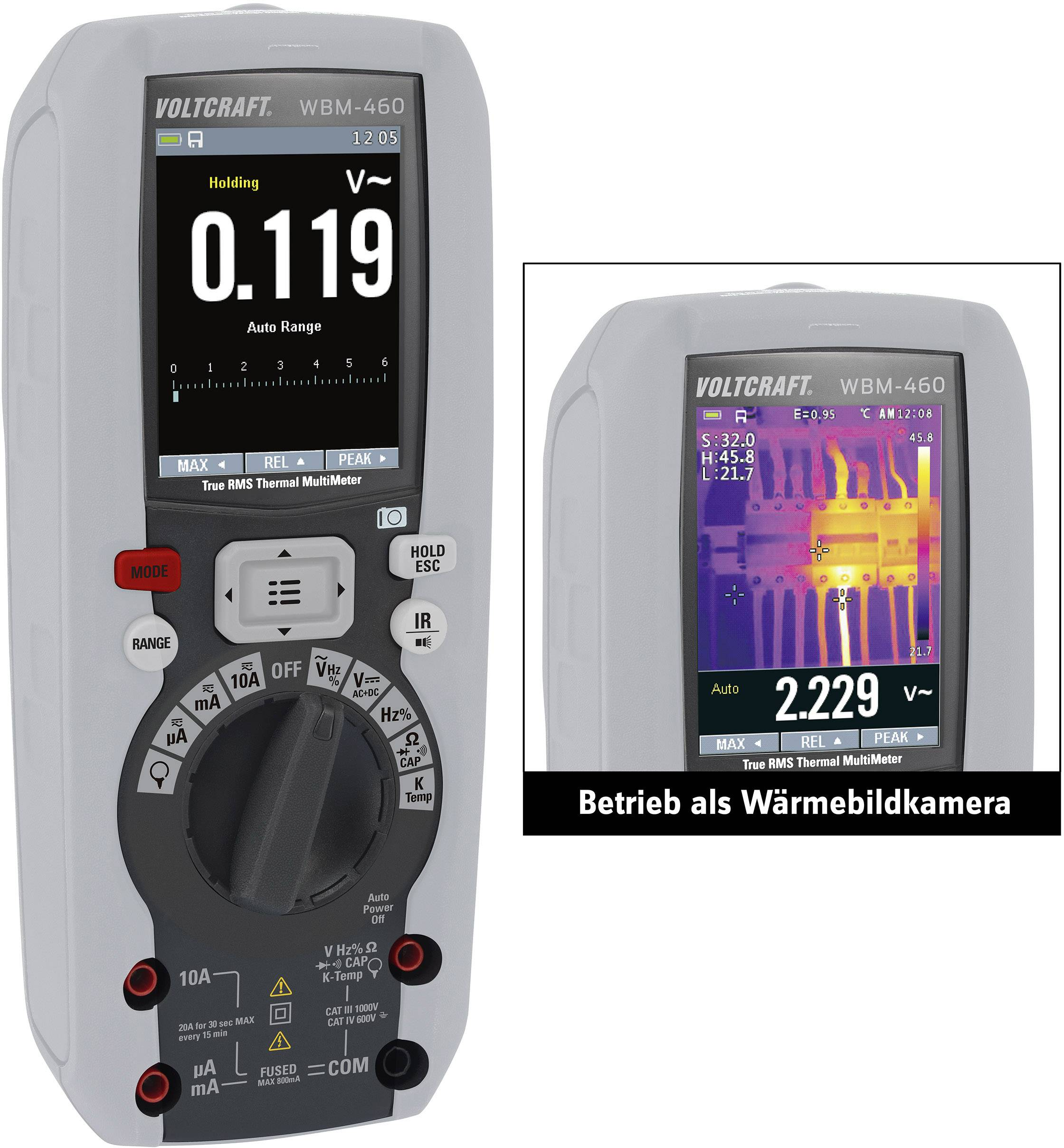 Multimetr s termokamerou VOLTCRAFT WBM-460, 80 x 80 pix