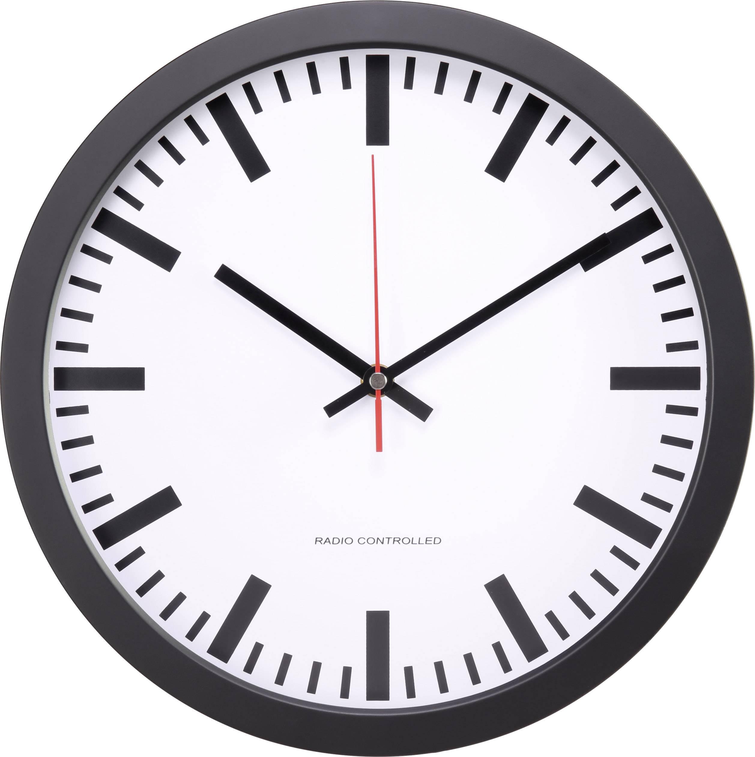DCF nástěnné hodiny Basetech BT-1661720, vnější Ø 300 mm, černá