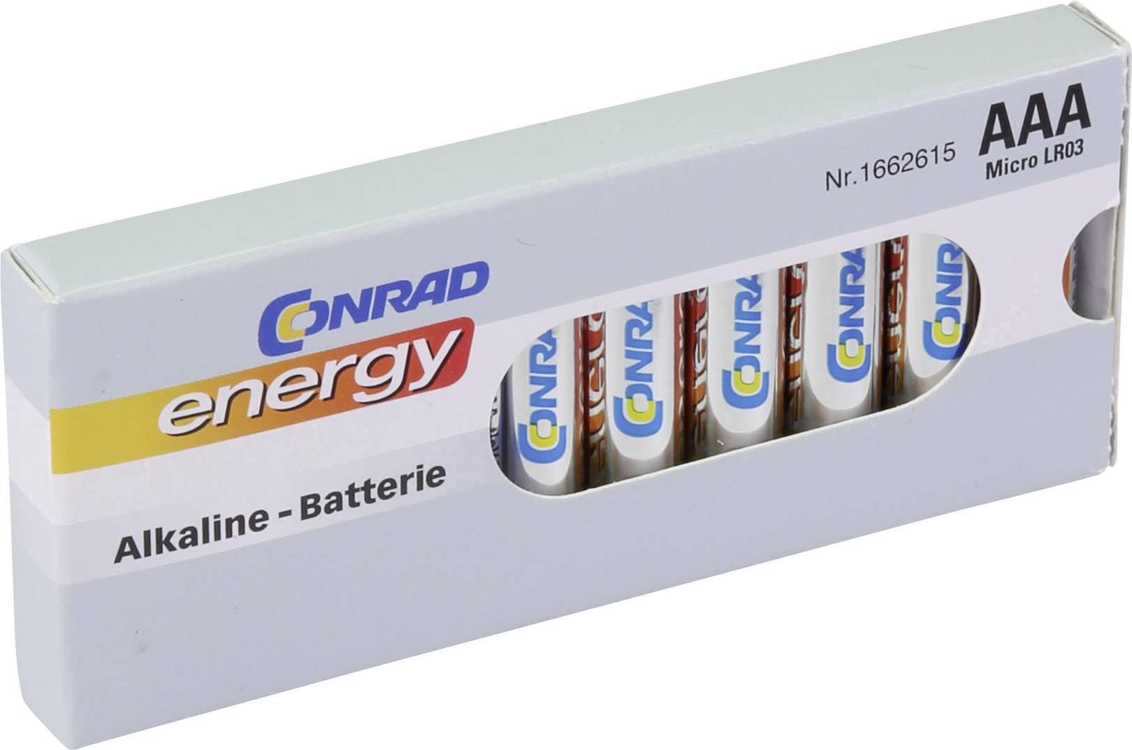 Mikrotužková batérie typu AAA alkalicko/mangánová Conrad energy LR03, 1.5 V, 10 ks