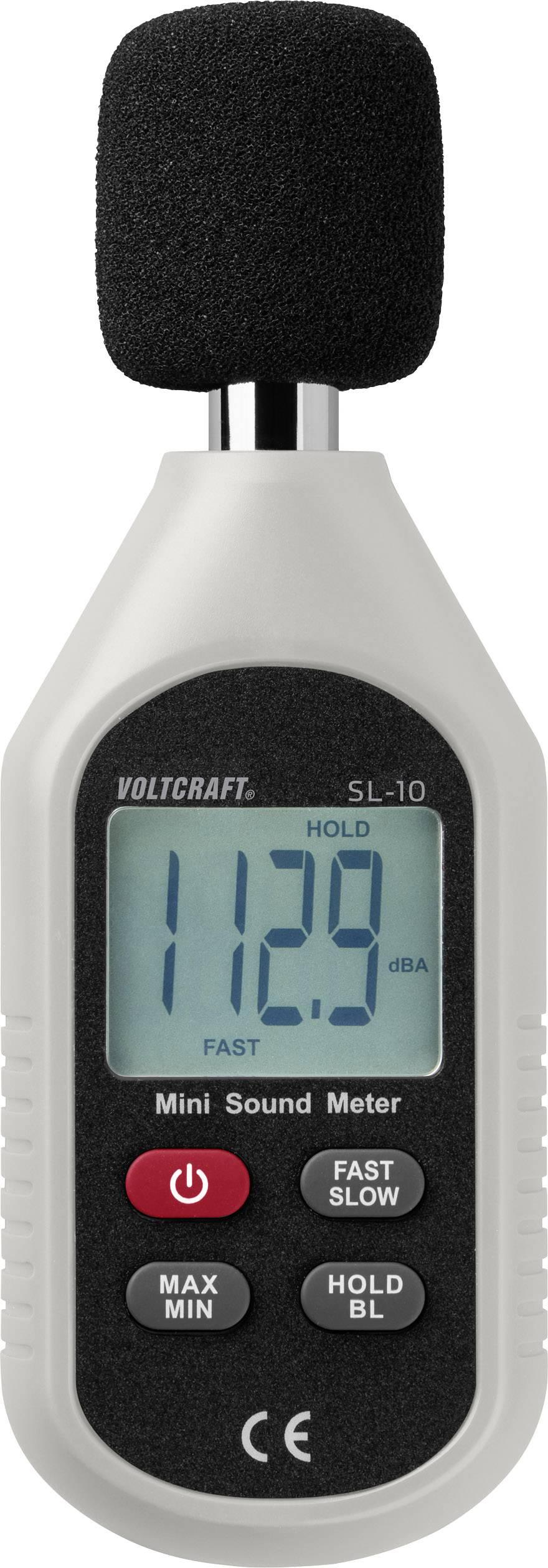 Hlukoměr VOLTCRAFT SL-10, 30 - 130 dB, 31.5 Hz - 8 kHz, Kalibrováno dle:bez certifikátu