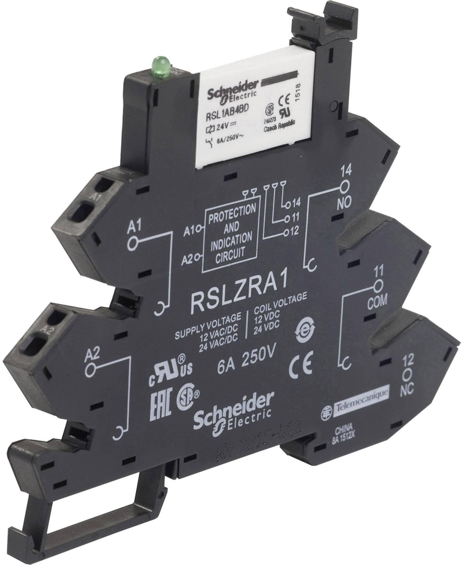 Zátěžové relé Schneider Electric RSL1PRBU, 24 V/DC, 24 V/AC, 6 A, 1 přepínací kontakt, 1 ks