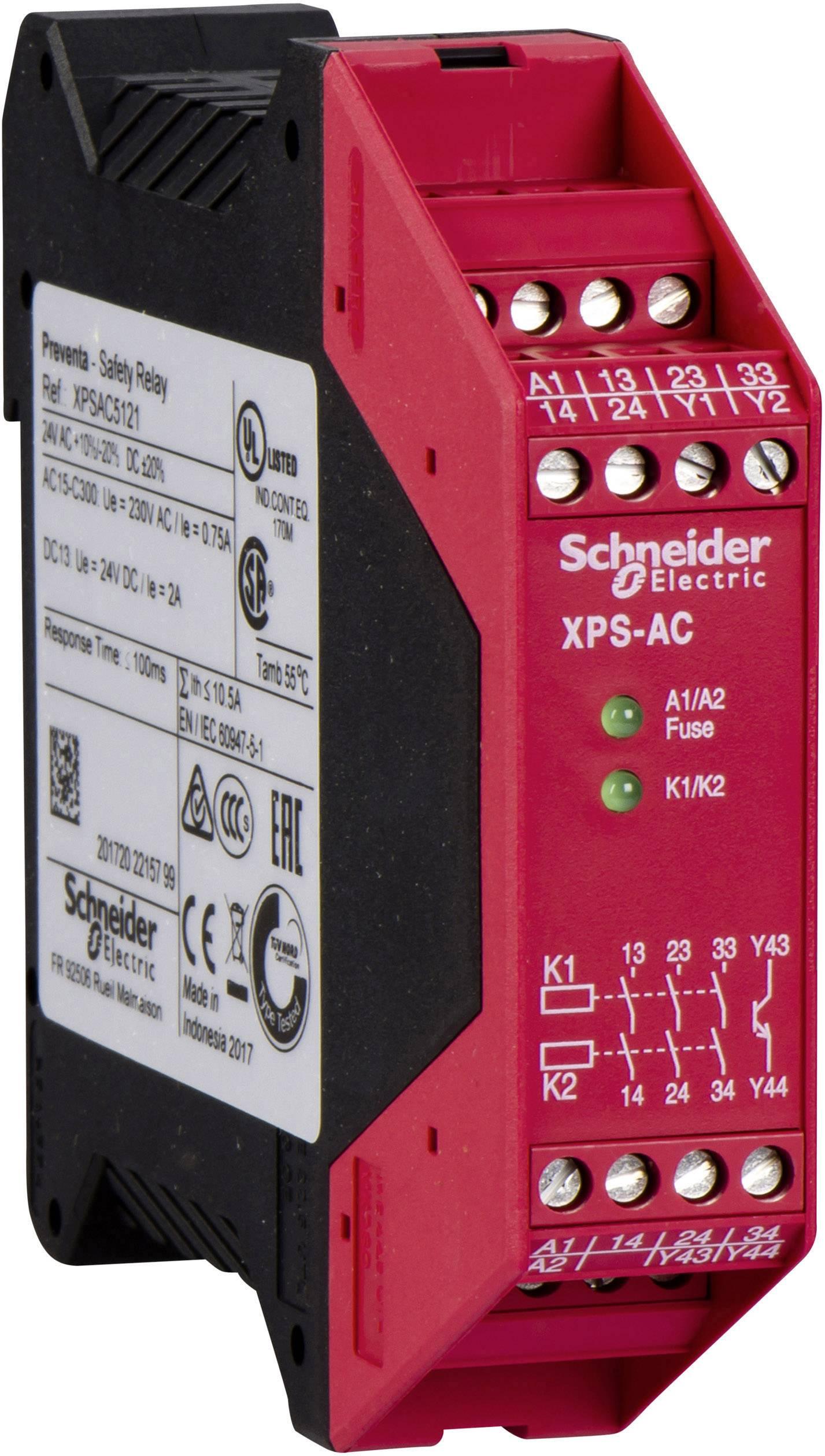 Ochranné relé Schneider Electric XPSAC5121, XPSAC5121, 24 V/DC, 24 V/AC, 3 přepínací kontakty
