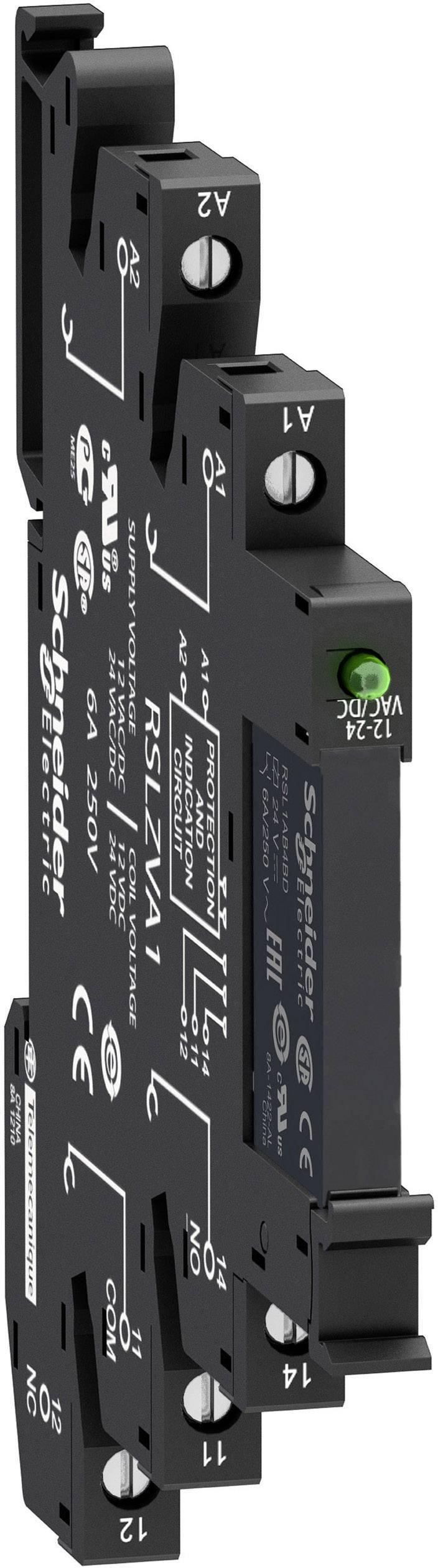 Zátěžové relé Schneider Electric RSL1PVBU, 24 V/DC, 24 V/AC, 6 A, 1 přepínací kontakt, 1 ks