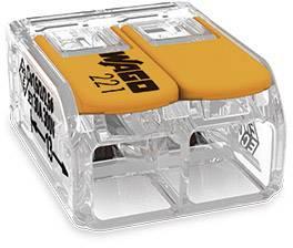 Kabelová svorka WAGO 221-612 pro kabel o rozměru 0.50-6 mm², pólů 2, 1 ks, transparentní, oranžová