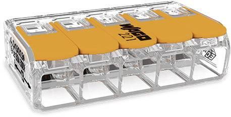Kabelová svorka WAGO 221-615 pro kabel o rozměru 0.50-6 mm², pólů 5, 1 ks, transparentní, oranžová