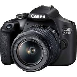 Digitální zrcadlovka Canon EOS-2000D vč. EF-S 18-55 mm IS II 24.1 Megapixel černá optický hledáček, s vestavěným bleskem, Wi-Fi, Full HD videozáznam, Live View