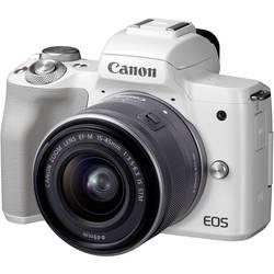 Systémový fotoaparát Canon EOS M50 EF-M 15-45 Kit, 24.1 Megapixel, bílá