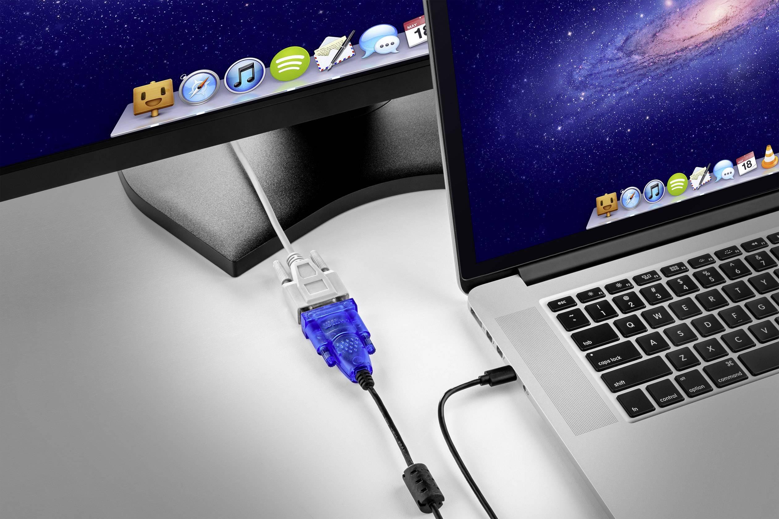 USB 2.0, sériový kabel Renkforce CRS-232 RF-3353476, 1.5 m, černá