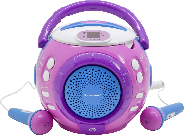 Dětský CD přehrávač SoundMaster KCD1600PI CD vč. karaoke, růžová