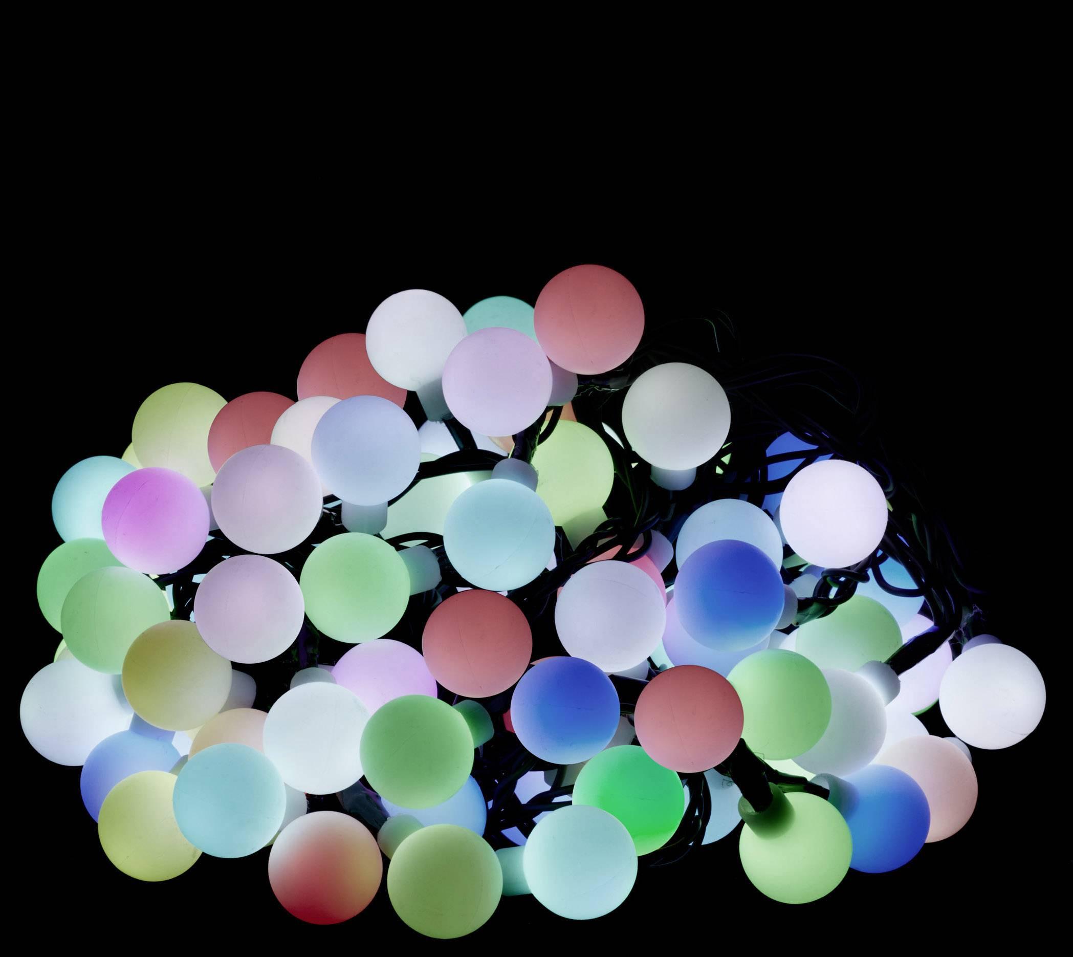 RGB LED světelný řetěz s motivem, vánoční koule Polarlite PL-8393850;PLKL-100RGBM, vnitřní/venkovní, 230 V, LED 100, RGB, 10 m