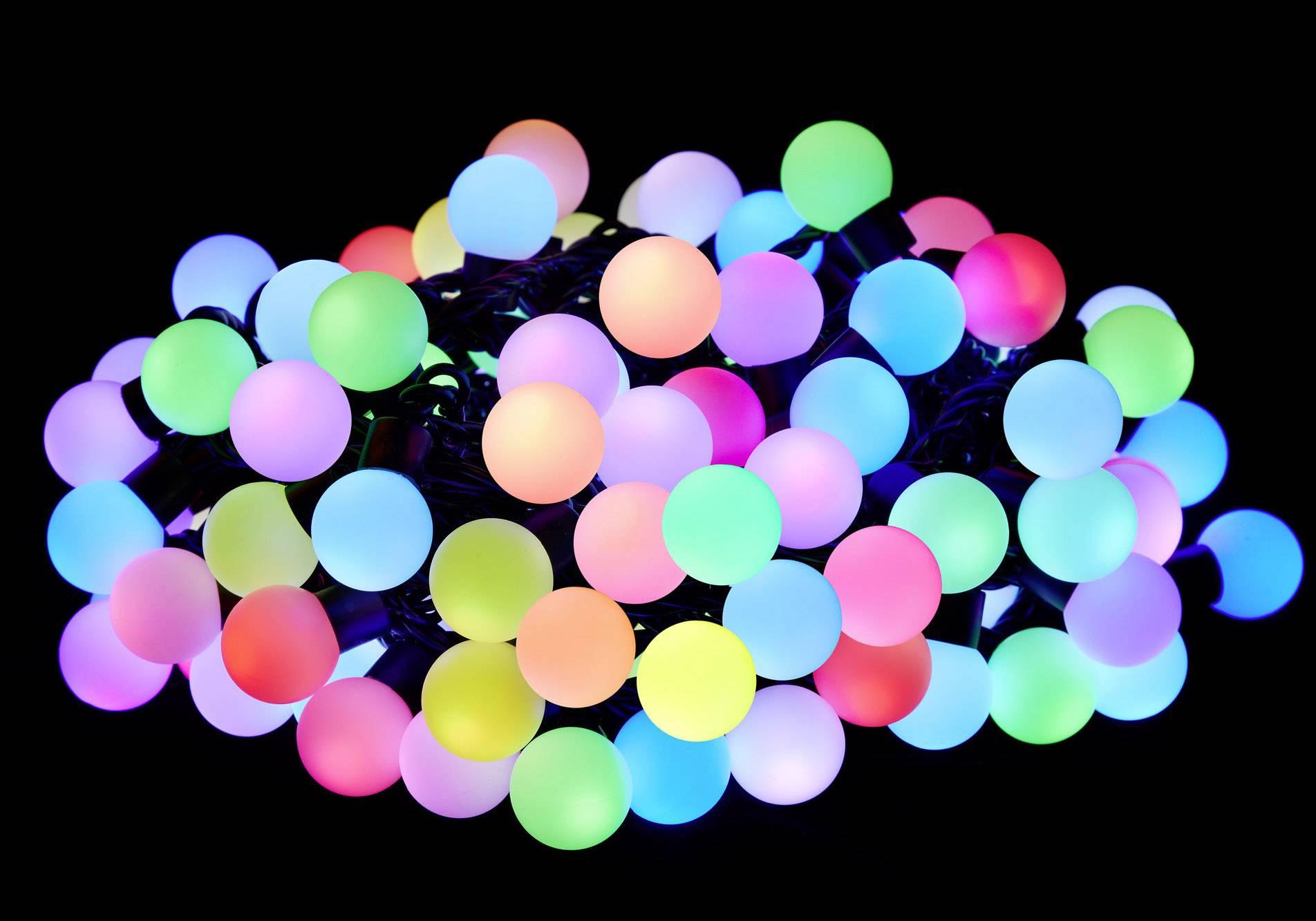 LED světelný řetěz s motivem, vánoční koule Polarlite PL-8403565, vnitřní/venkovní, 230 V, LED 100, RGB