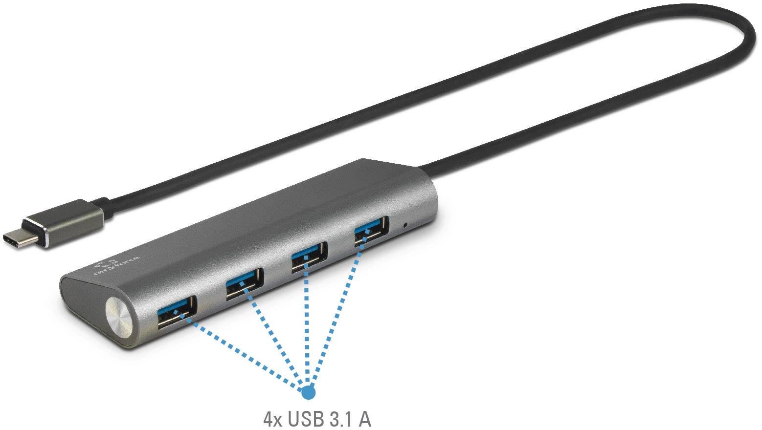 USB 3.1 hub Renkforce 4 porty, s hliníkovým krytem, 37 mm, stříbrná