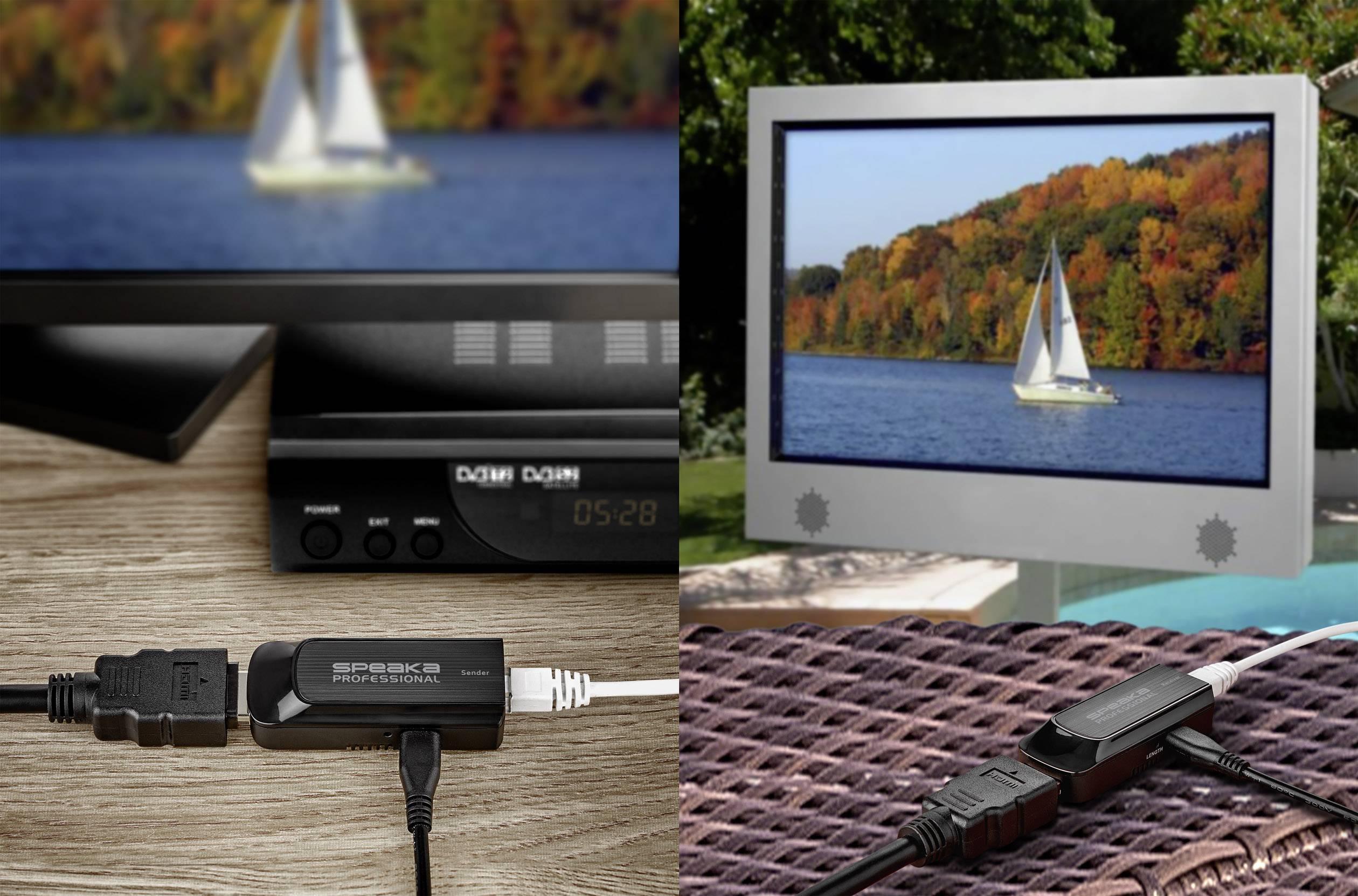 HDMI™ extender (prodloužení) přes síťový kabel RJ45, SpeaKa Professional 50 m, N/A