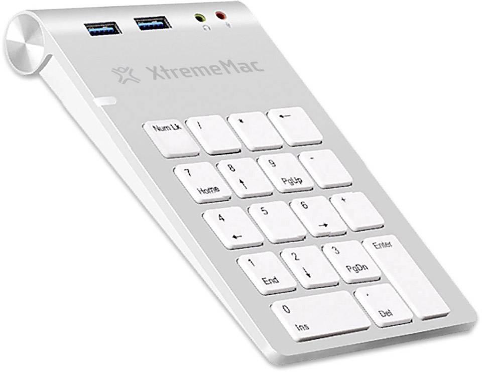 USB numerická klávesnica XtremeMAC XM-NPHUB32-AU-SLV XM-NPHUB32-AU-SLV, strieborná/biela