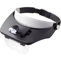 Čelová lipa TOOLCRAFT s LED osvetlením, zväčšenie: 1.2 x, 1.8 x, 2.5 x, 3.5 x, (d x š) 102 mm x 57 mm, čierna