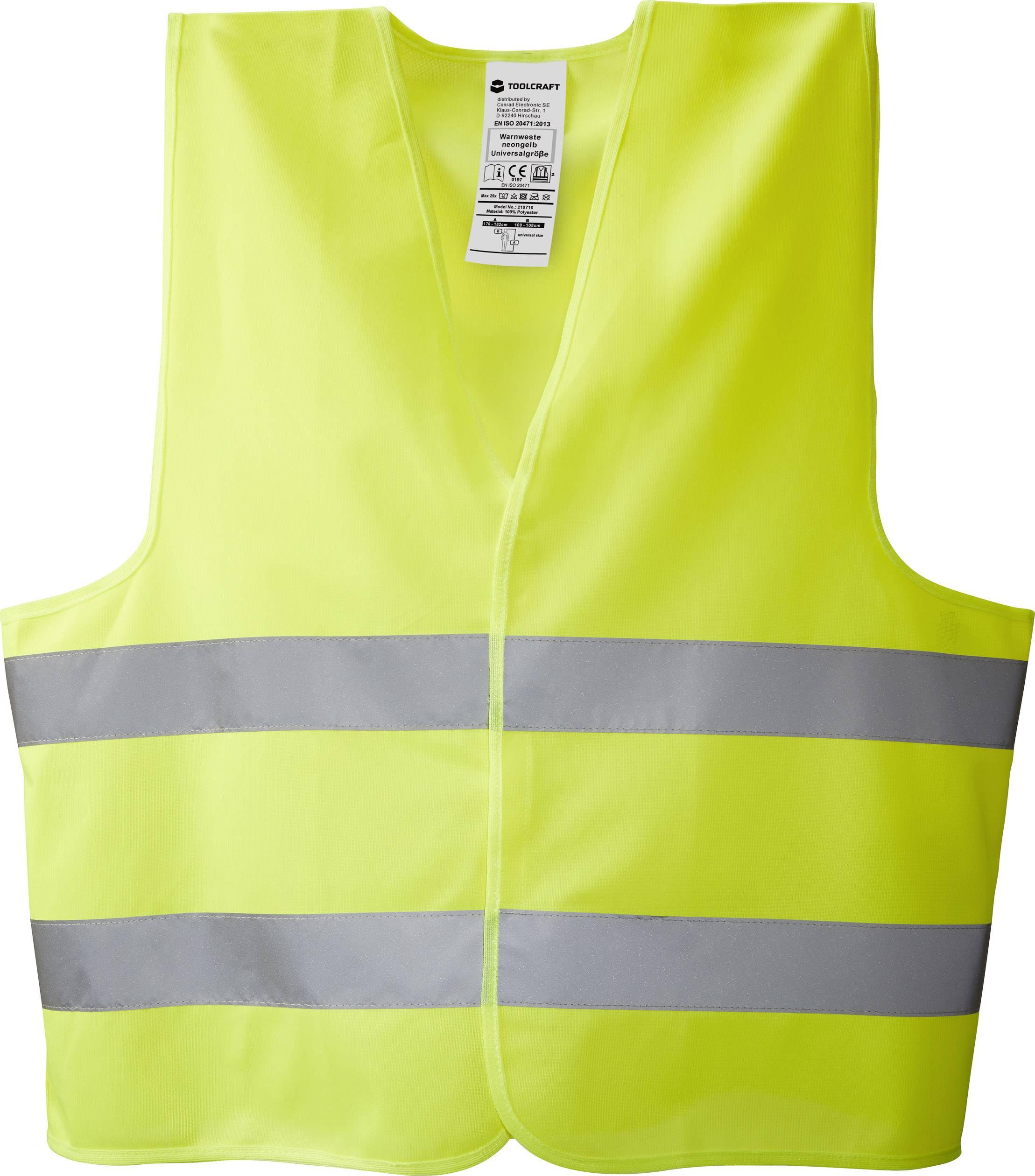 TOOLCRAFT TO-5150547 Výstražná vesta - neonově žlutá, univerzální velikost, EN ISO 20471:2013 EN ISO 20471:2013