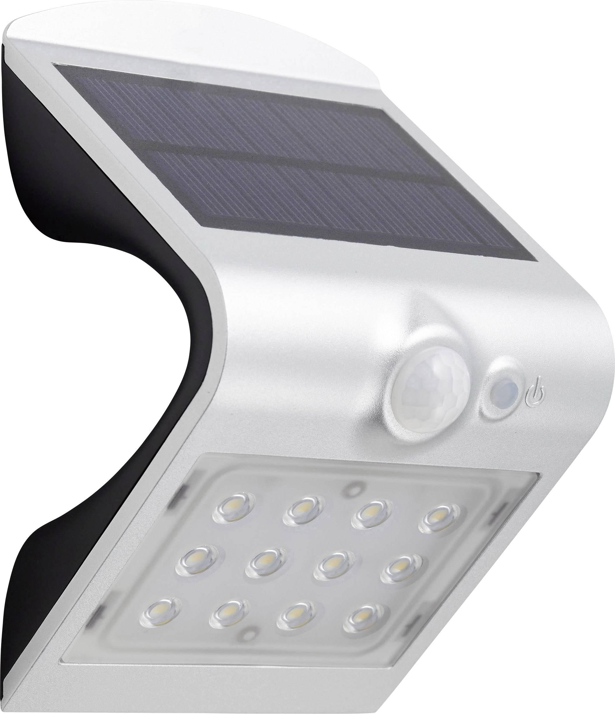 Solární bodové osvětlení s PIR detektorem Brilliant G96339/58 Dev 1.5 W, neutrálně bílá, stříbrná