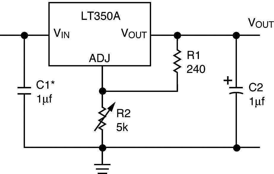 Stabilizátor napětí 3 A nastavitelný LM 350 T = KA 350 TO220