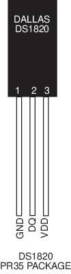 Teplotní senzor s přímým digitálním výstupem Dallas DS18S20, -50 - +125°C, TO 92