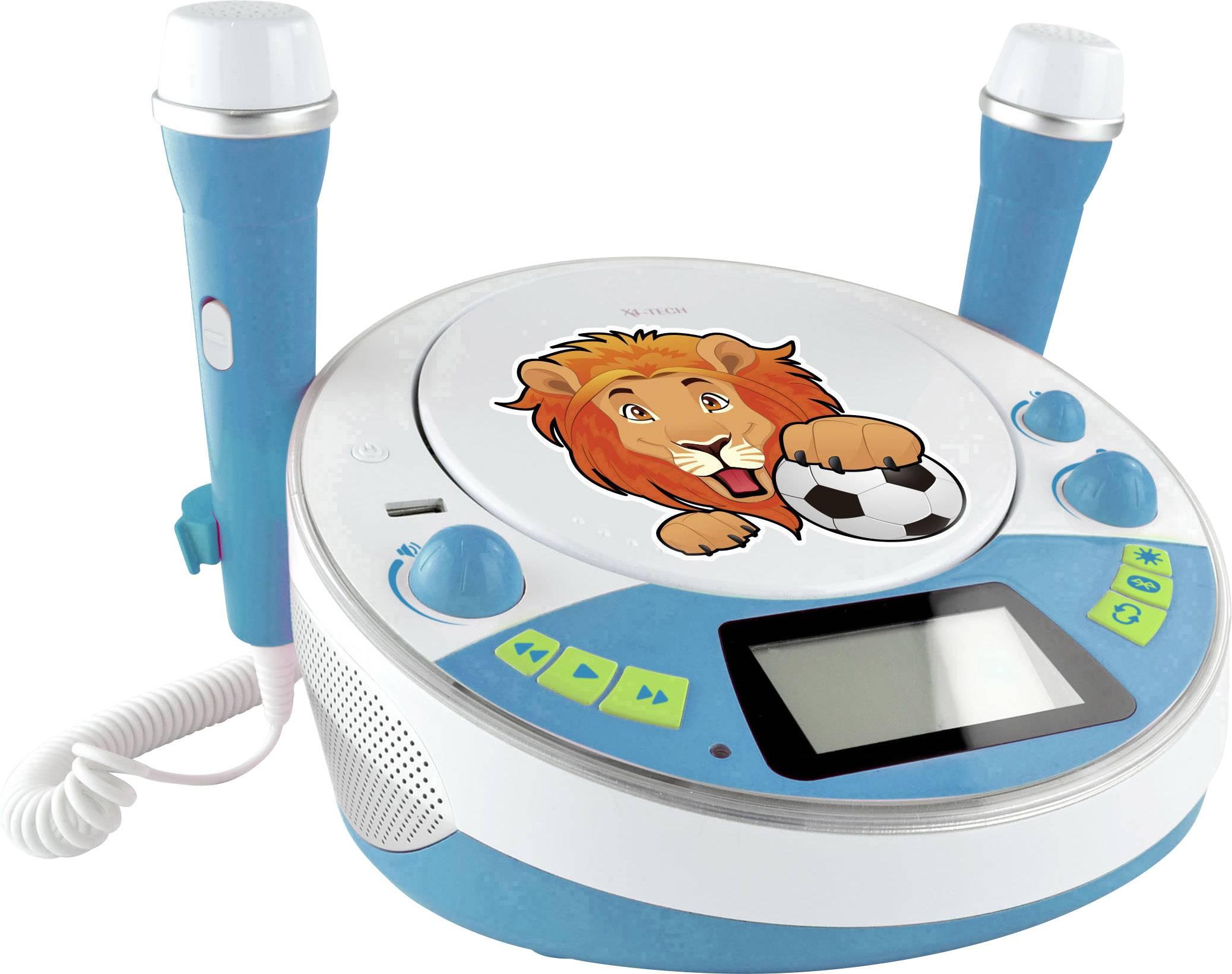 Dětský CD přehrávač X4 Tech Bobby Joey Jam Box Bluetooth, AUX, CD, USB, SD vč. karaoke, včetně mikrofonu, modrá