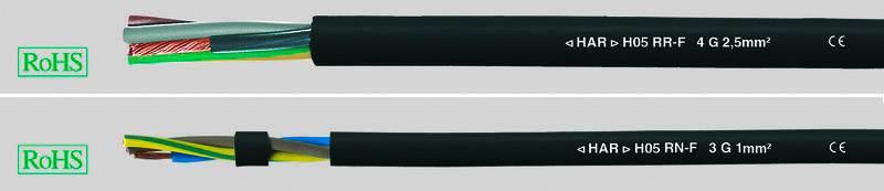 Kabel s gumovou izolací Helukabel H05RN-F, 36001-50, 2 x 0.75 mm², černá, 50 m