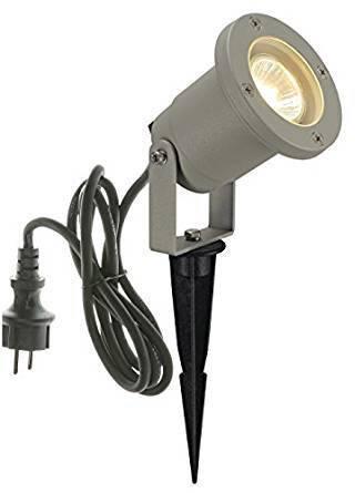 LED, halogenová žárovka zahradní reflektor SLV Doran 10 1002513, GU10, 35 W, stříbrnošedá