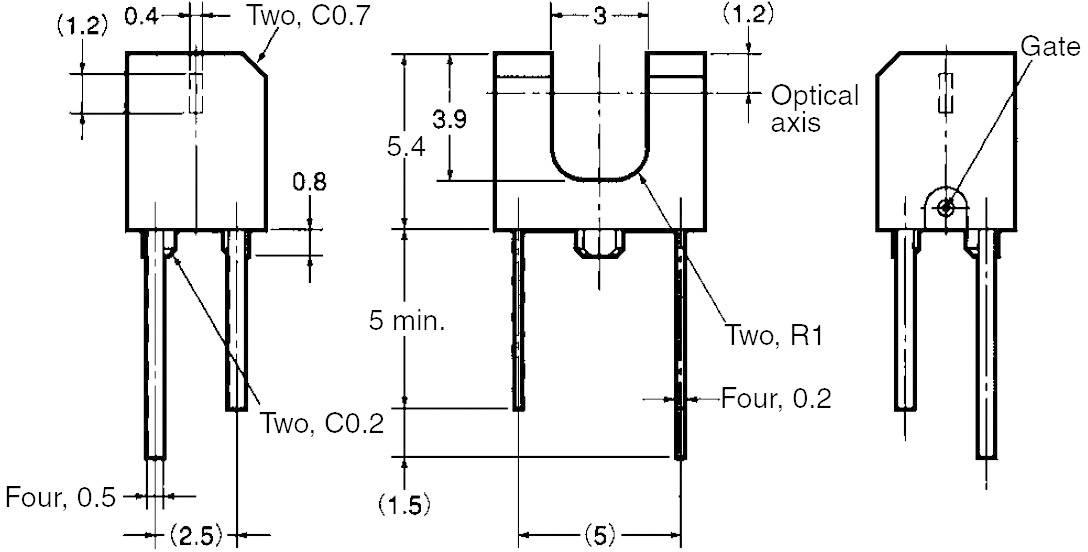 Miniatúrny optický senzor do DPS Omron EE-SX1106, 3 mm