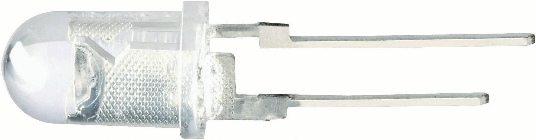 LED dioda kulatá s vývody, 100 mA, 5 mm, 3,5 V, 75 °, 14000 mcd, bílá
