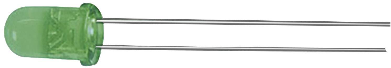 LED dioda kulatá s vývody Kingbright, L-53SGC, 20 mA, 5 mm, 2,2 V, 30 °, 200 mcd, zelená