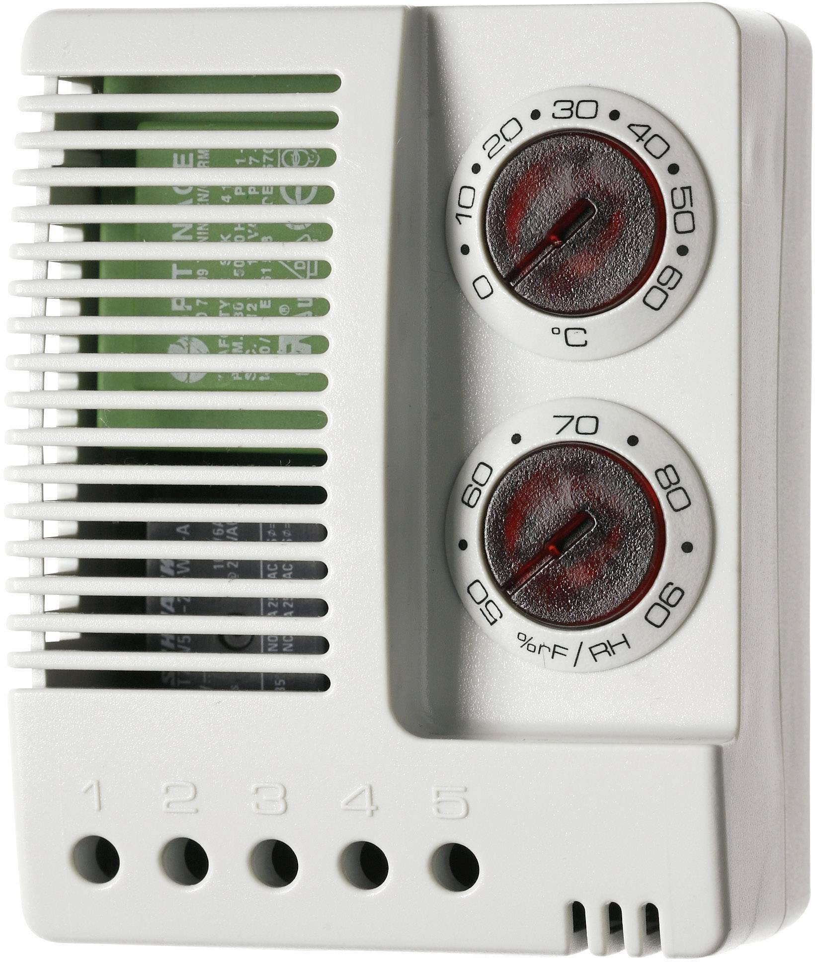 Kombinace hygrostatu a termostatu pro skříňové rozvaděče Finder 7T.91.8.230.4050 7T.91.8.230.4050, 230 V/AC, 1 přepínací kontakt, (d x š x v) 77 x 59 x 38 mm