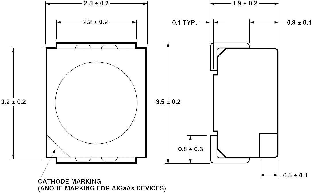 SMDLED Broadcom HSMY-A100-J00J1, 12 mcd, 120 °, 20 mA, 2.2 V, žltá