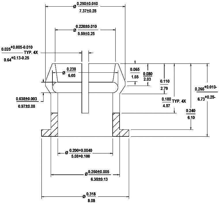 LED držák pro montáž na přední panel HLMP-0103