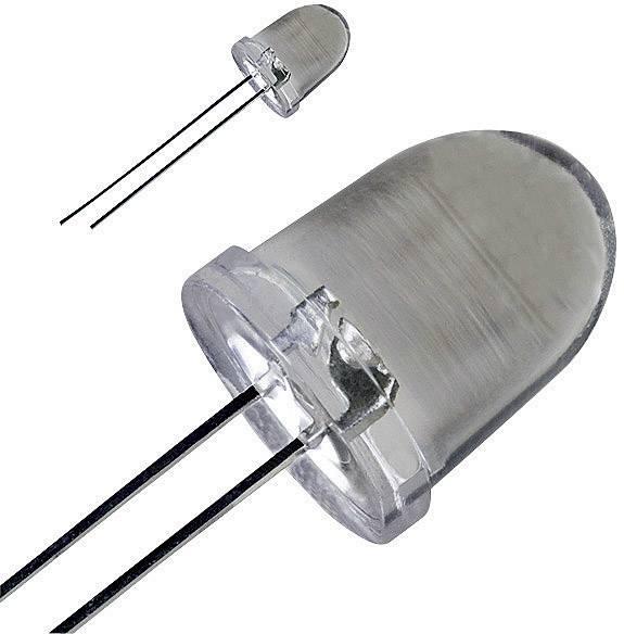 LED dioda kulatá s vývody, LED-10-80.000W, 30 mA, 10 mm, 3,6 V, 20 °, 80000 mcd, bílá