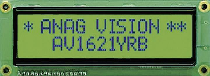 LCD displej Anag Vision AV1621YRB-SJ AV1621YRB-SJ, (š x v x h) 122 x 44 x 10 mm, čierna, žltozelená